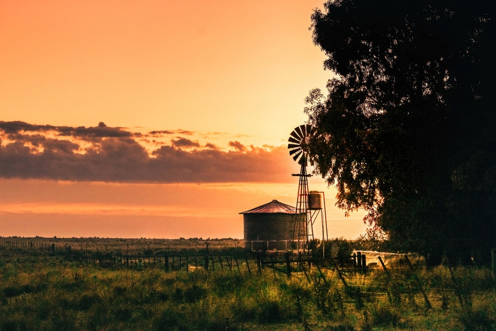 white and brown wooden house near green grass field during sunset