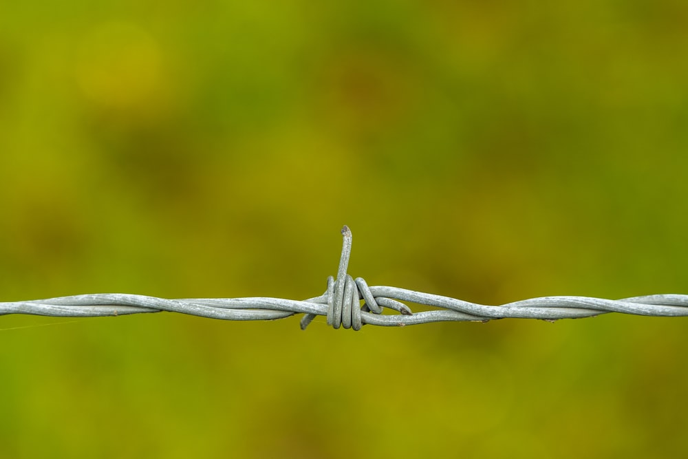 white metal barbwire in close up photography