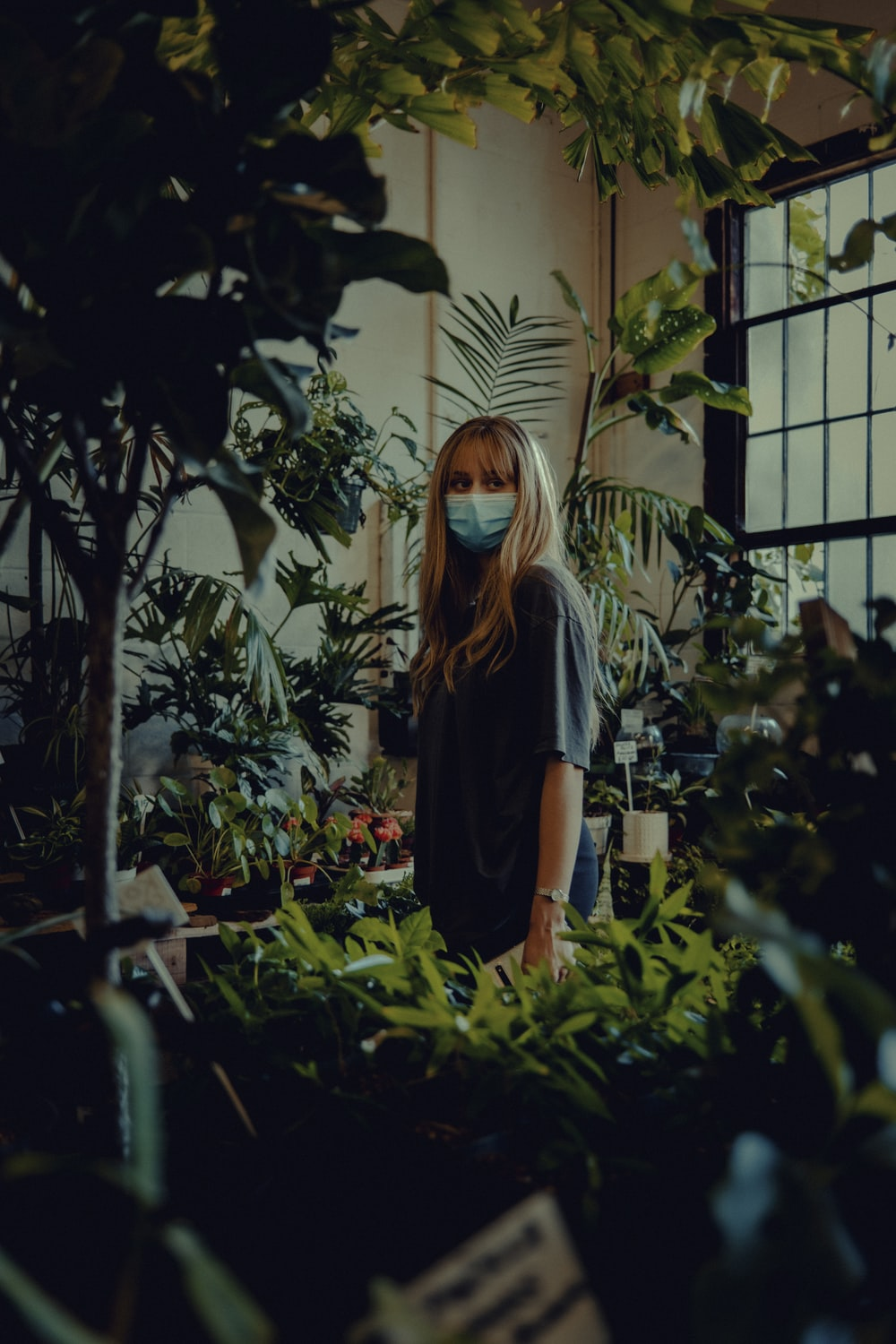 woman in black crew neck t-shirt standing near green plants during daytime