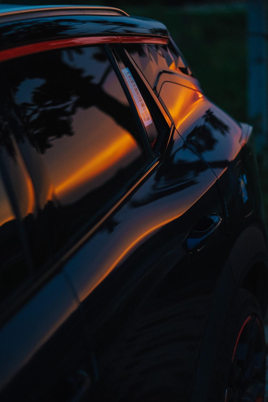 orange car with black and white light