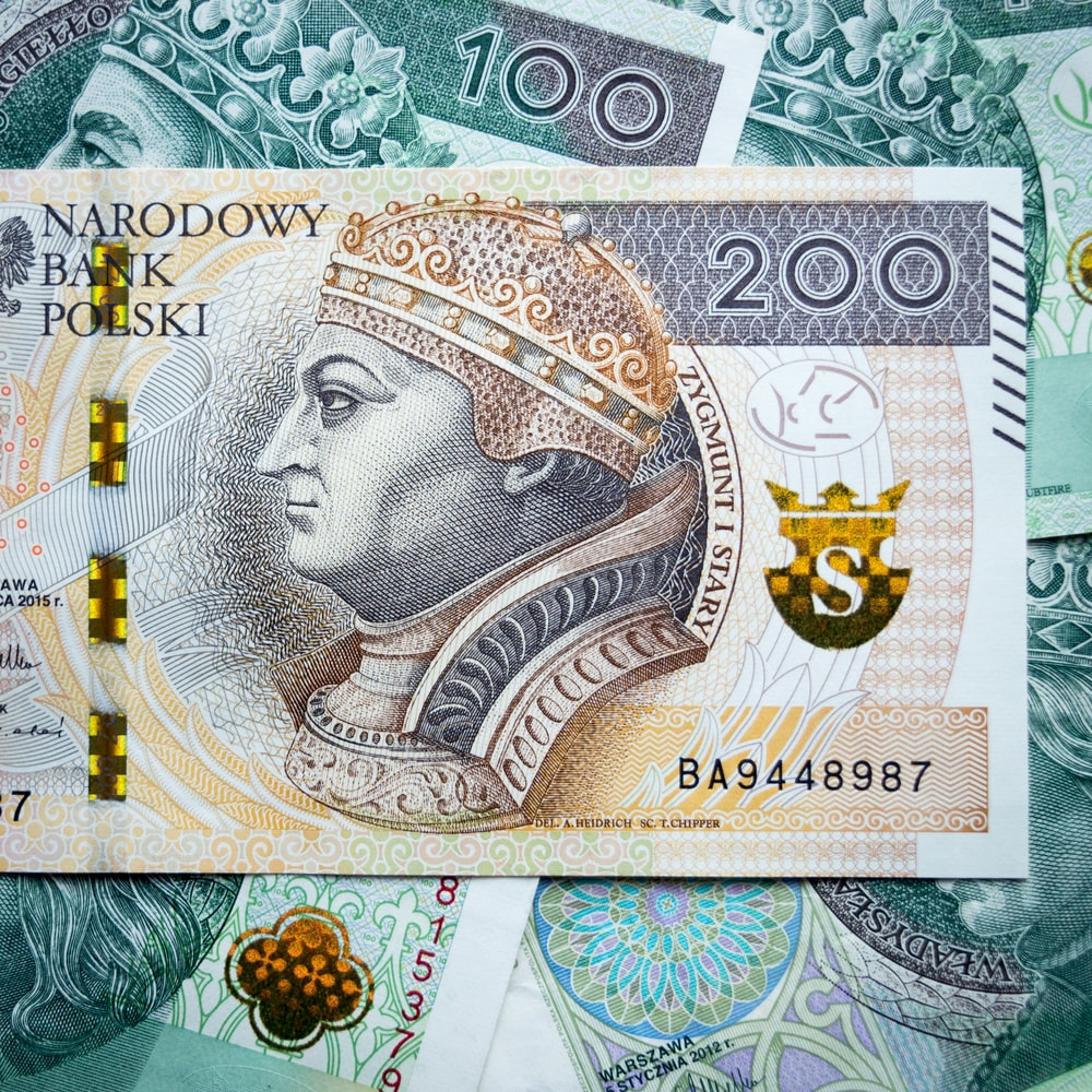 10 banknote on blue and white textile
