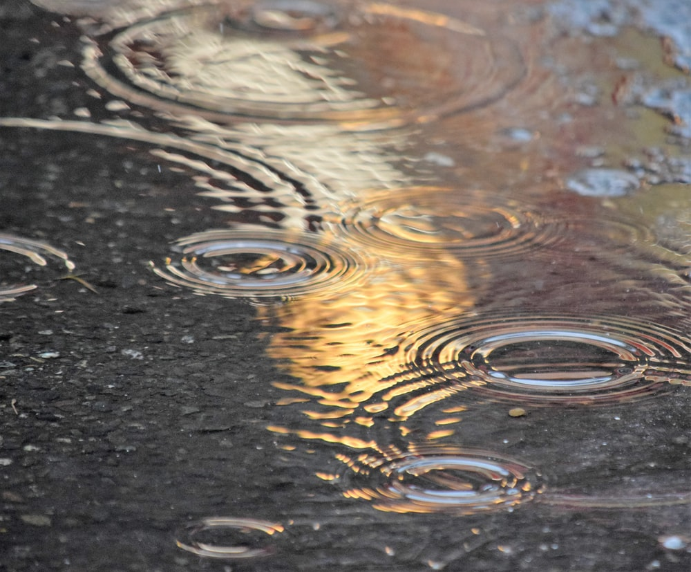 water droplets on black surface