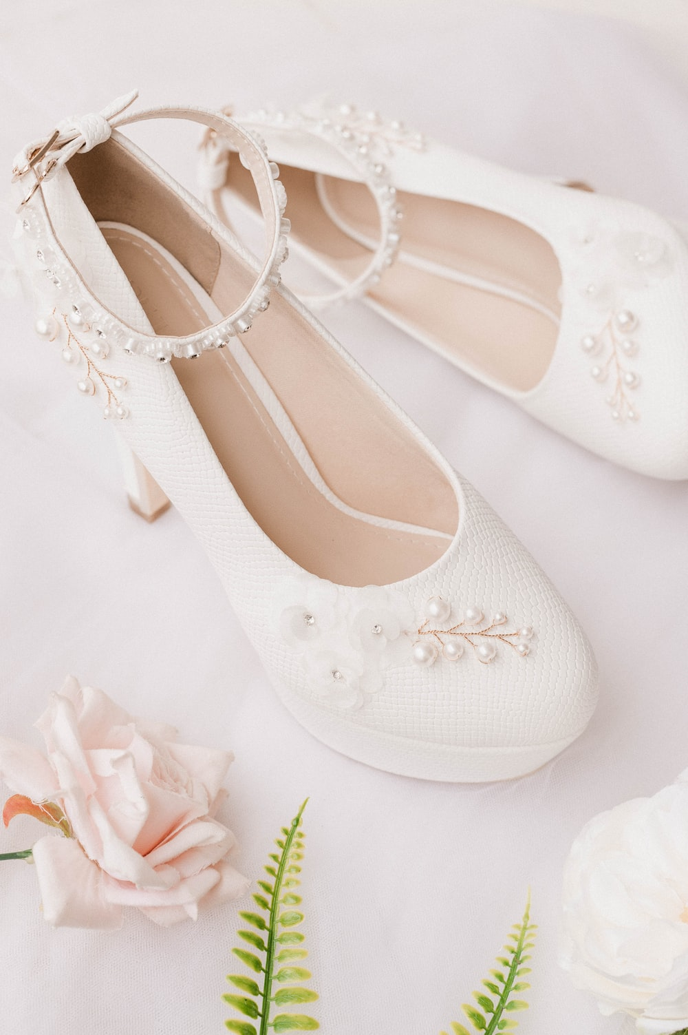 white and gray floral peep toe heeled sandals