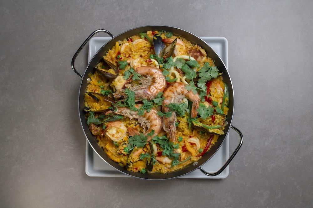black cooking pan on stove