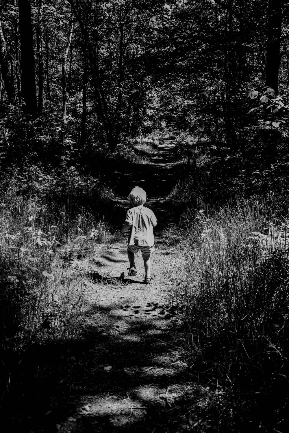 grayscale photo of child walking on forest