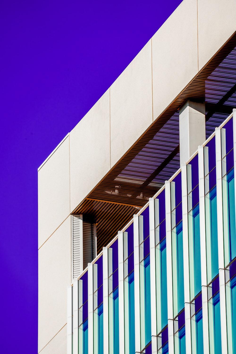 white and blue concrete building