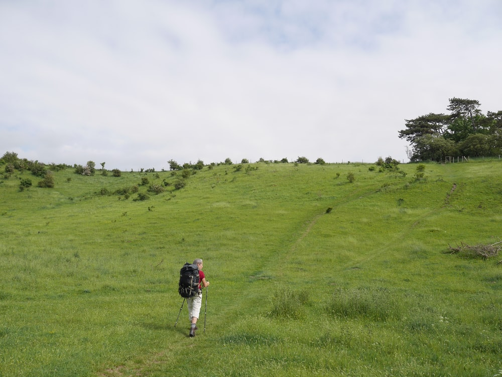 person in red jacket walking on green grass field during daytime
