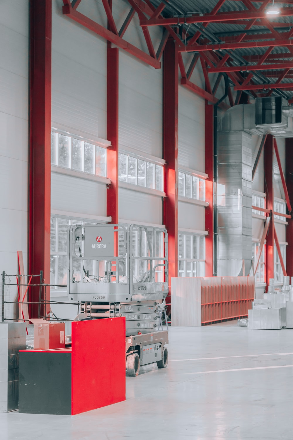 red and white building interior