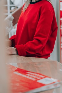 person in red long sleeve shirt