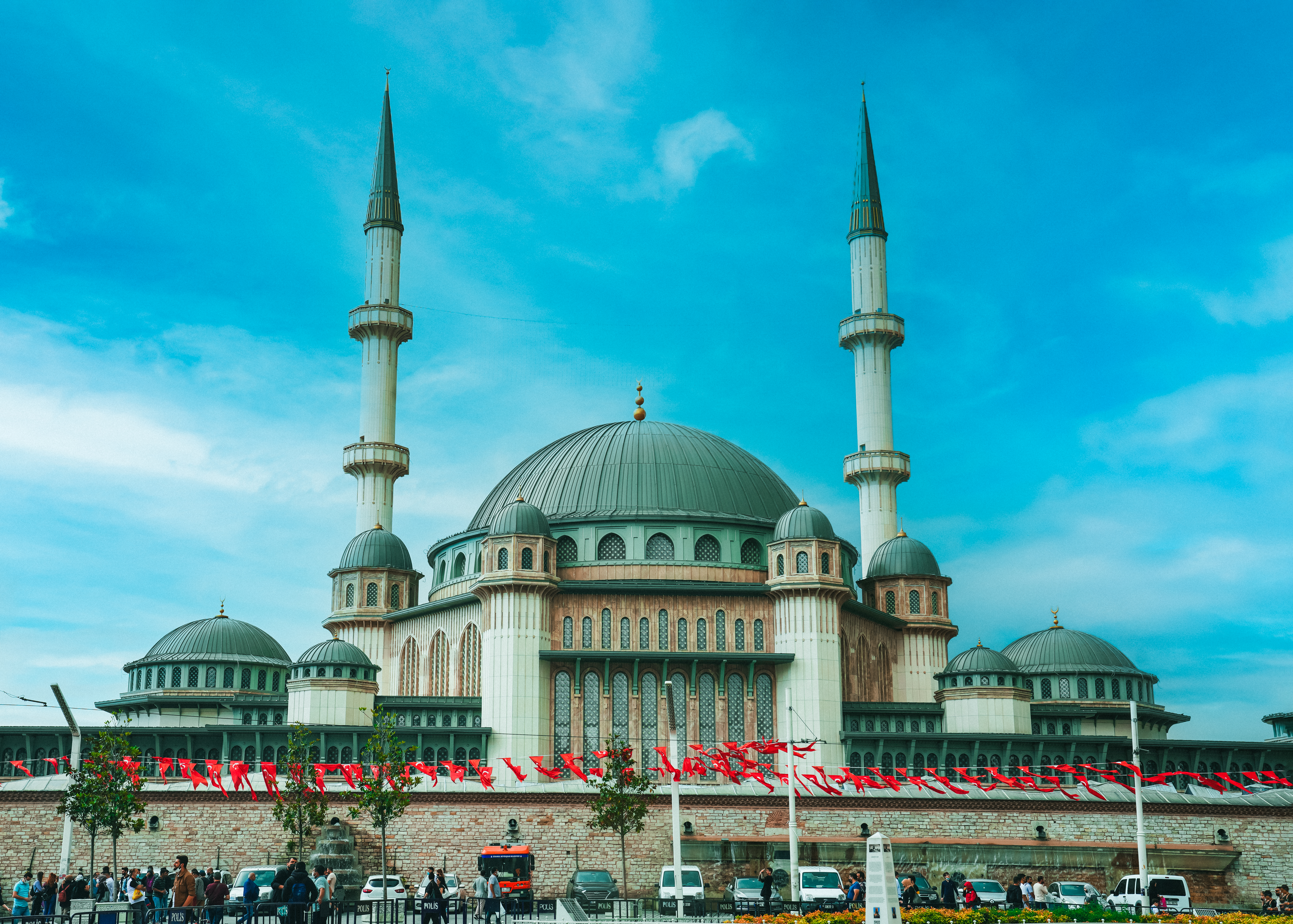 Taksim Mosque is a mosque complex at Taksim Square, Istanbul. It was designed by two Turkish architects in the art deco style, and the triple-story mosque can hold up to 3,000 worshippers at the same time. Construction started on February 17, 2017 and lasted for four years. It was opened end May 2021.
