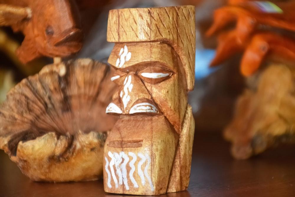 brown wooden carved carved wood