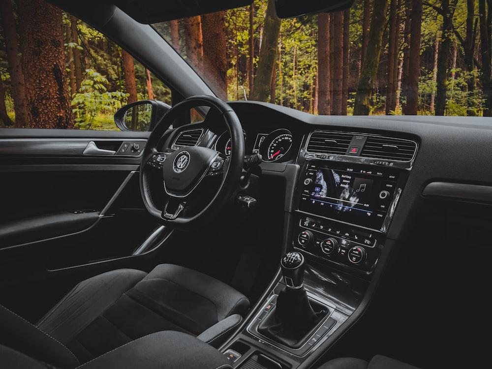 black and silver car interior