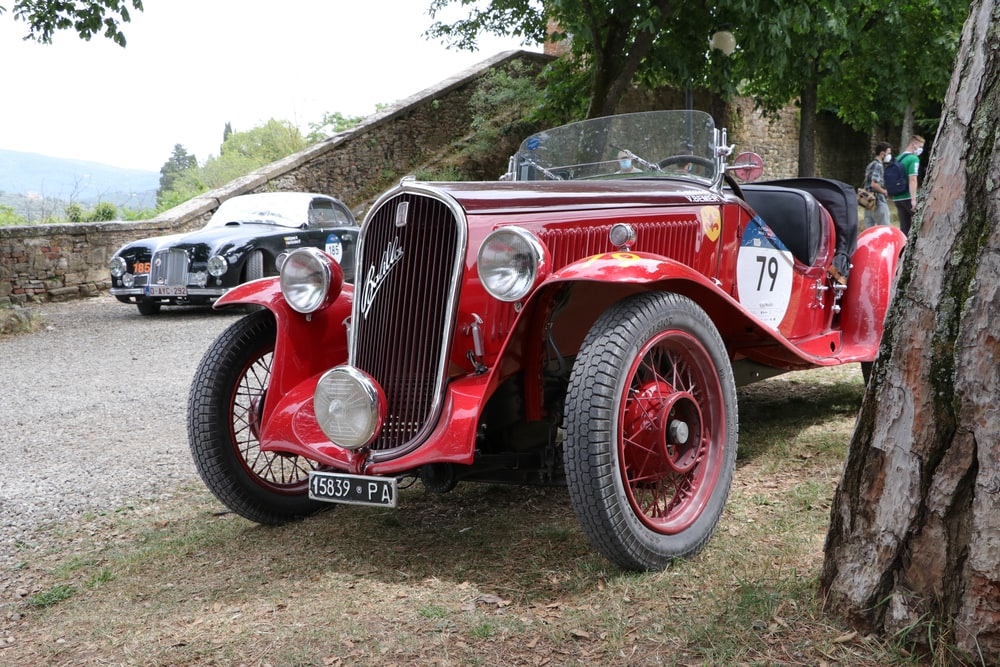 red and silver vintage car