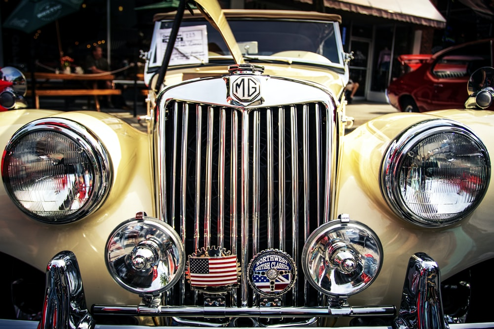 yellow and silver vintage car