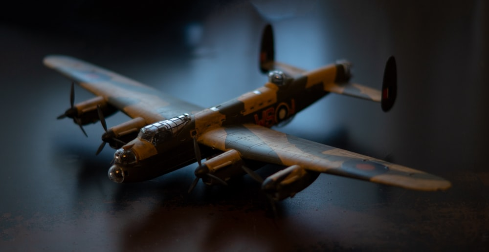 brown and black plane scale model
