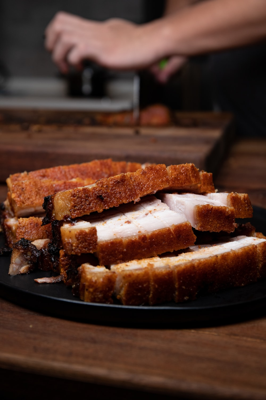 sliced bread on black plate