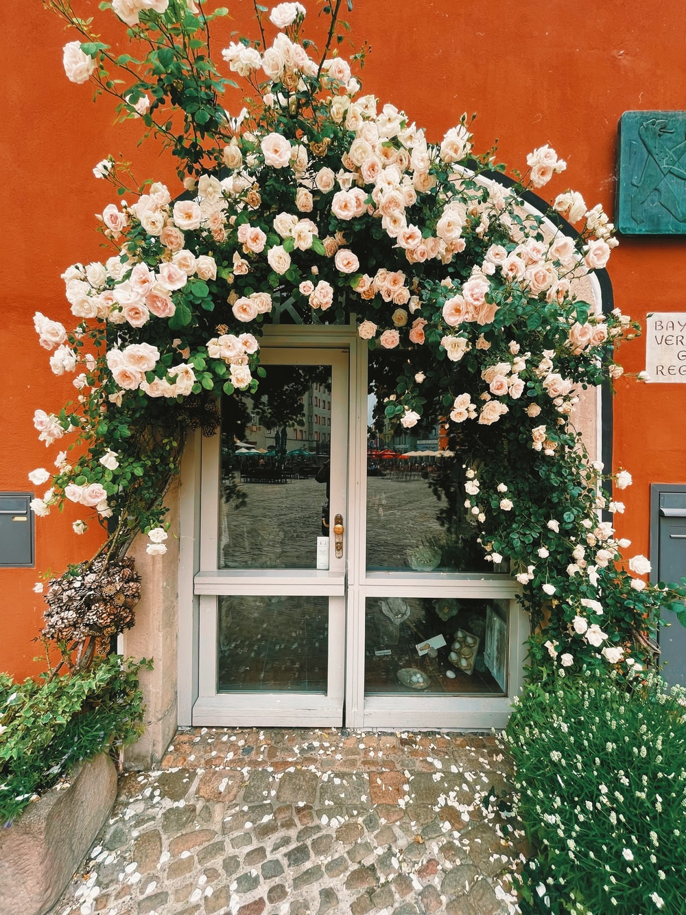 white wooden framed glass window with white flowers