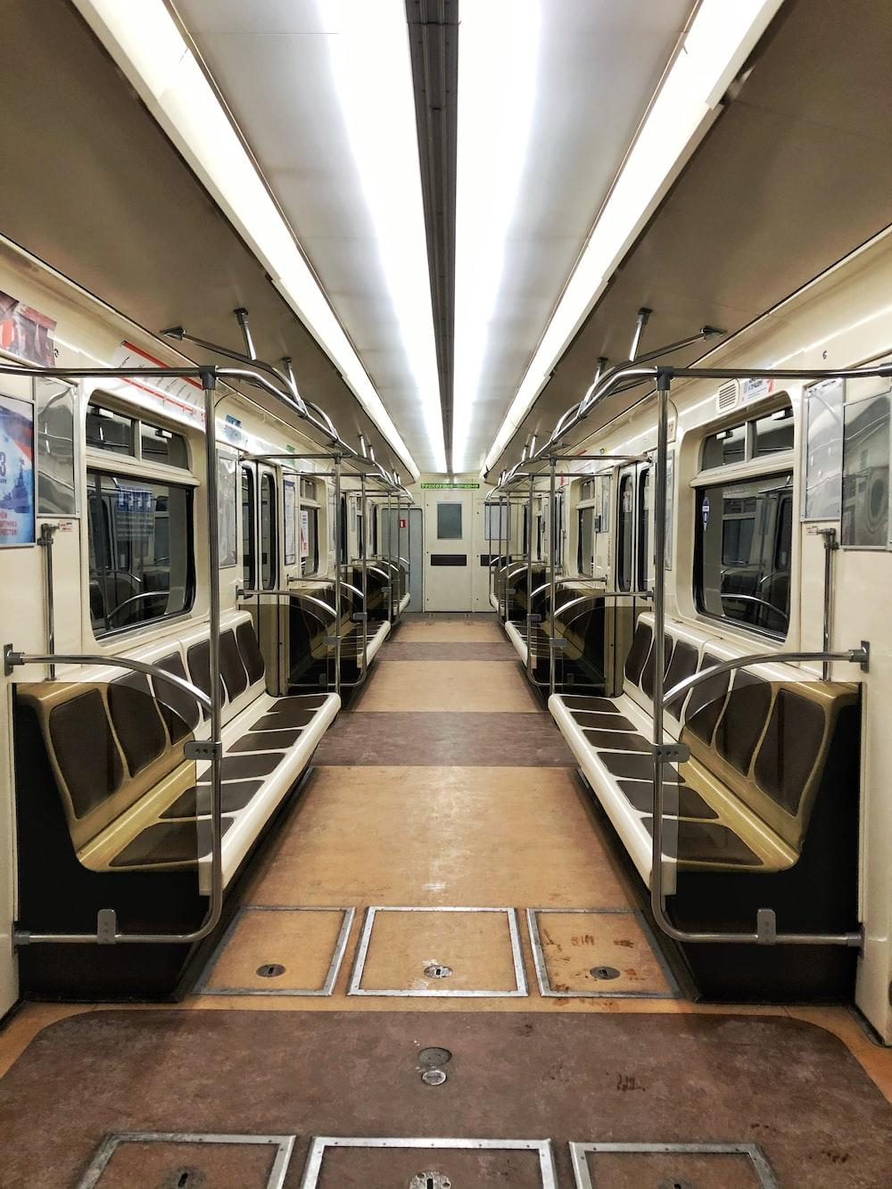 white and black train interior