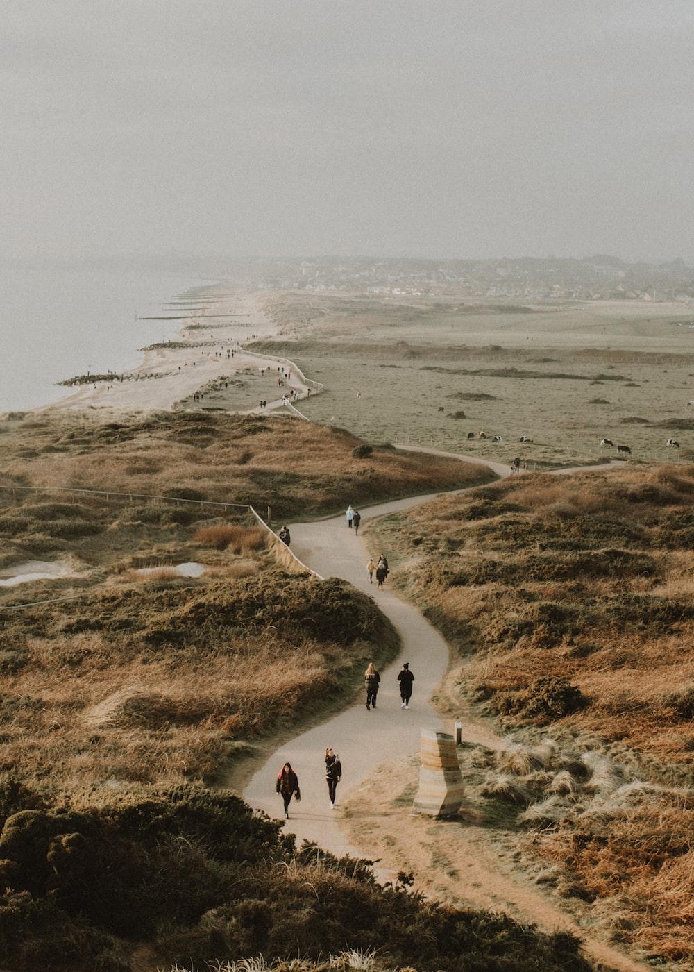people walking on brown field during daytime