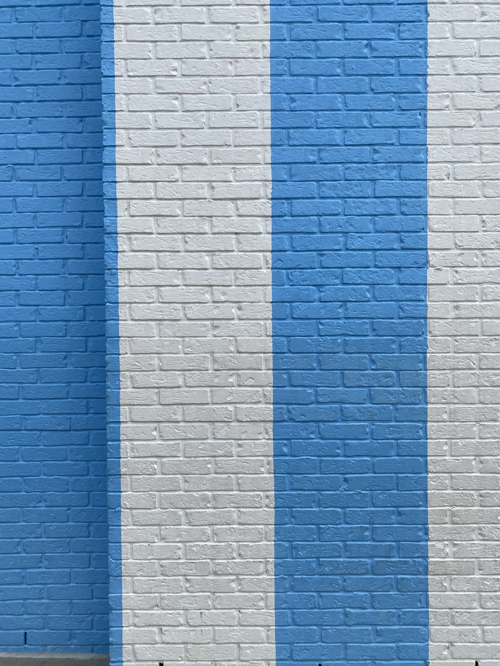 blue and white brick wall
