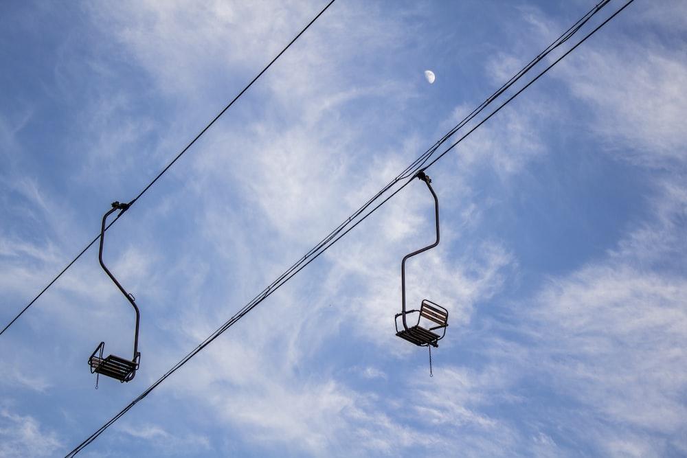 black cable car under blue sky during daytime