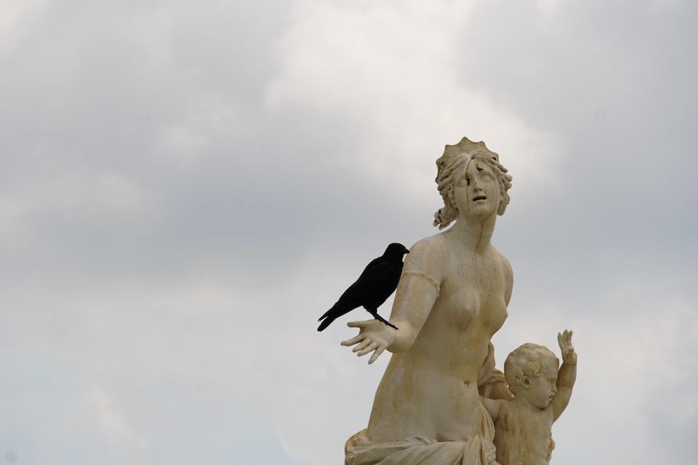 black bird on white angel statue