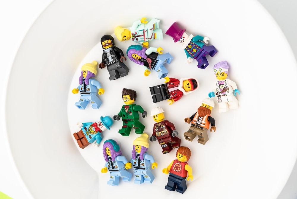 lego blocks on white round plate
