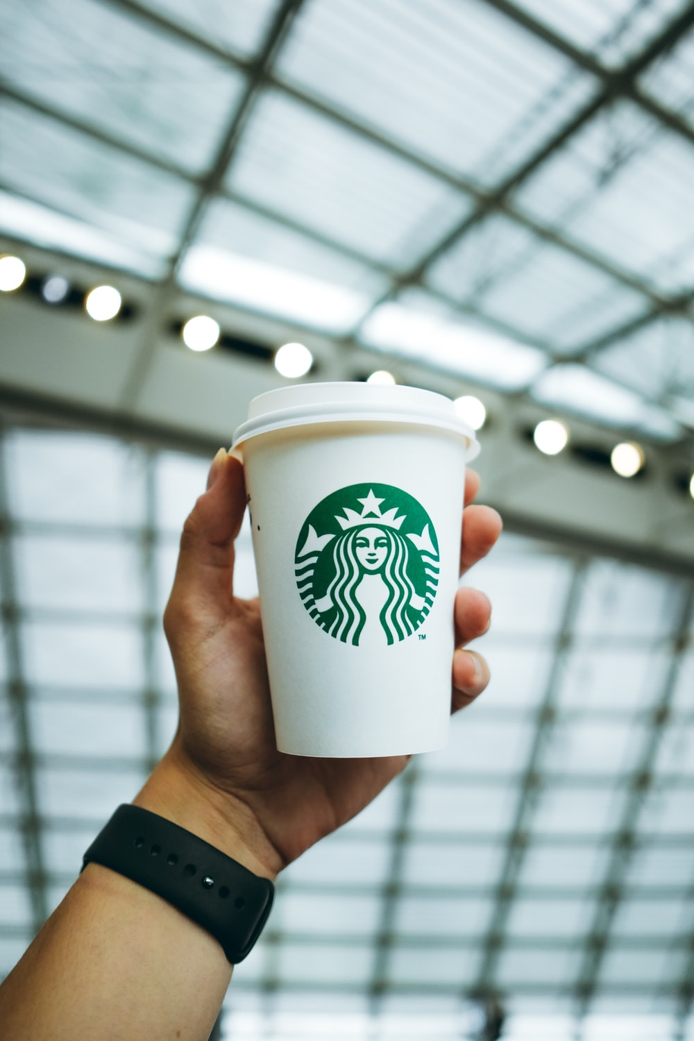 person holding white and green starbucks disposable cup