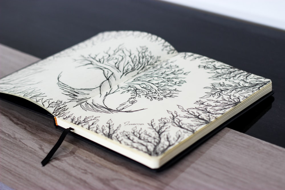 white and black floral book