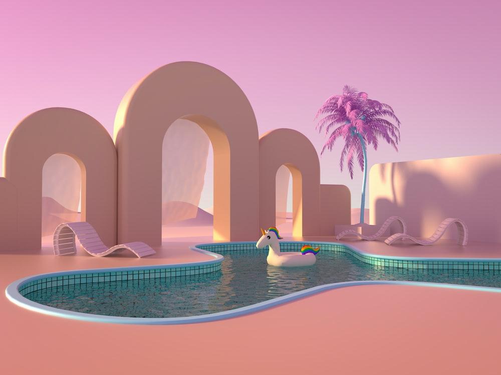 swimming pool near palm trees