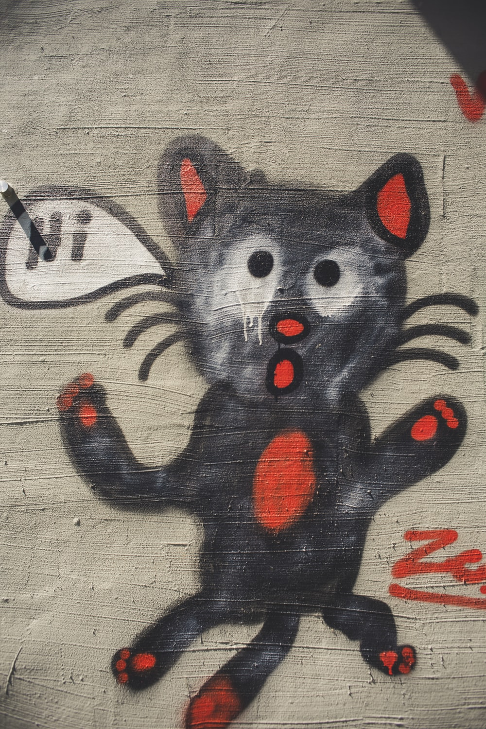 black and red cat illustration