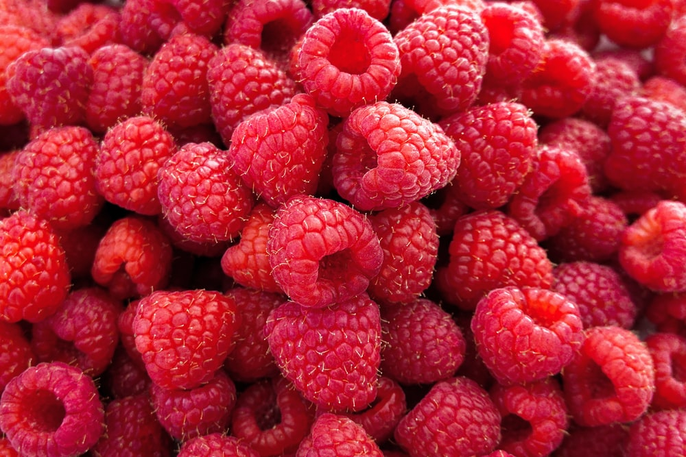 red raspberries in close up photography