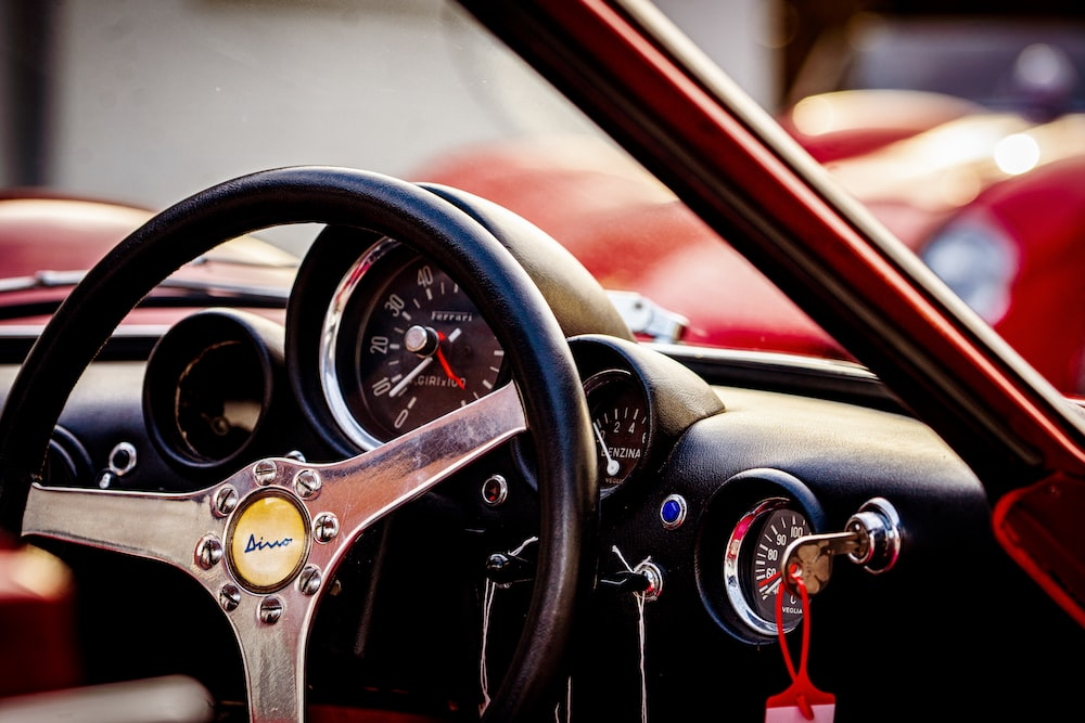 black and gold steering wheel