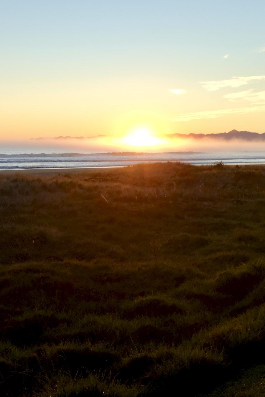 green grass field near body of water during sunset