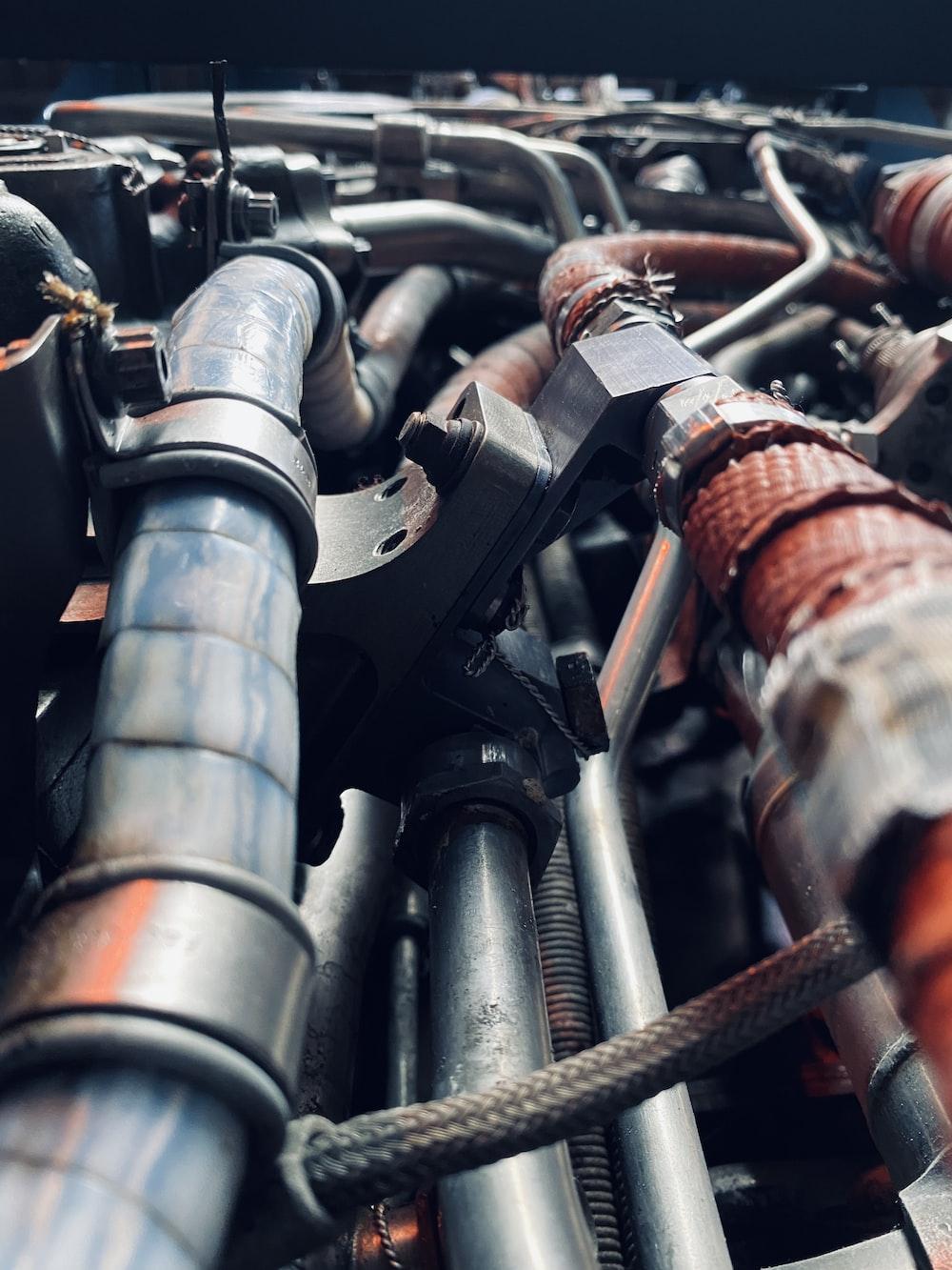 black and brown metal pipe