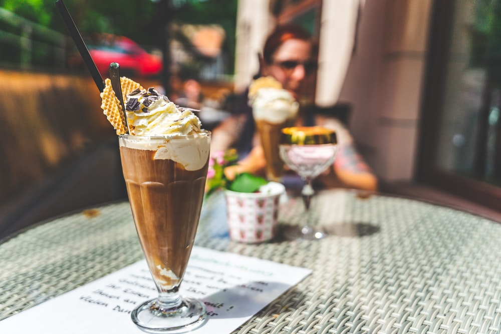 ice cream in clear drinking glass