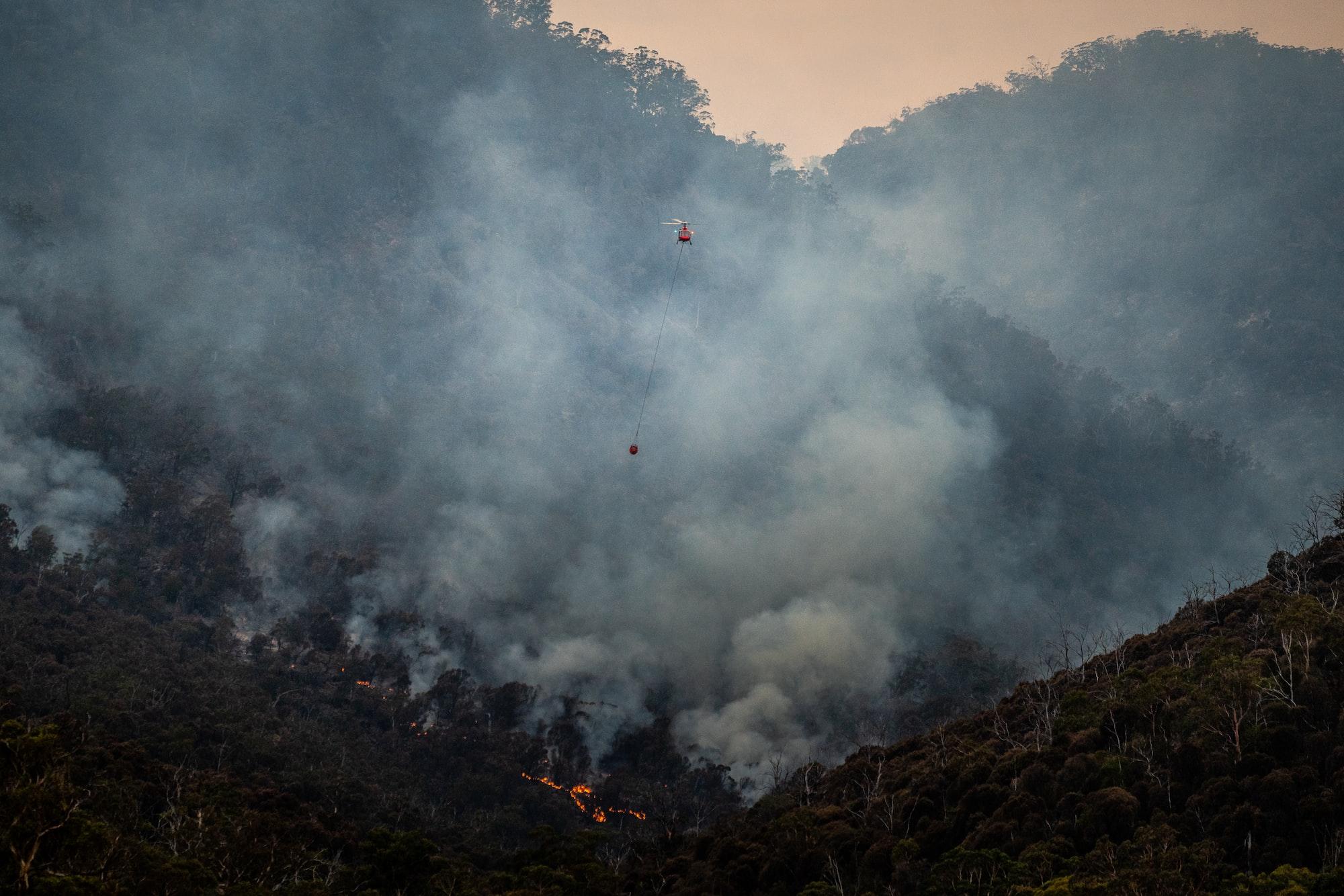 Firefighting at Fingal, Tasmania in 2020.