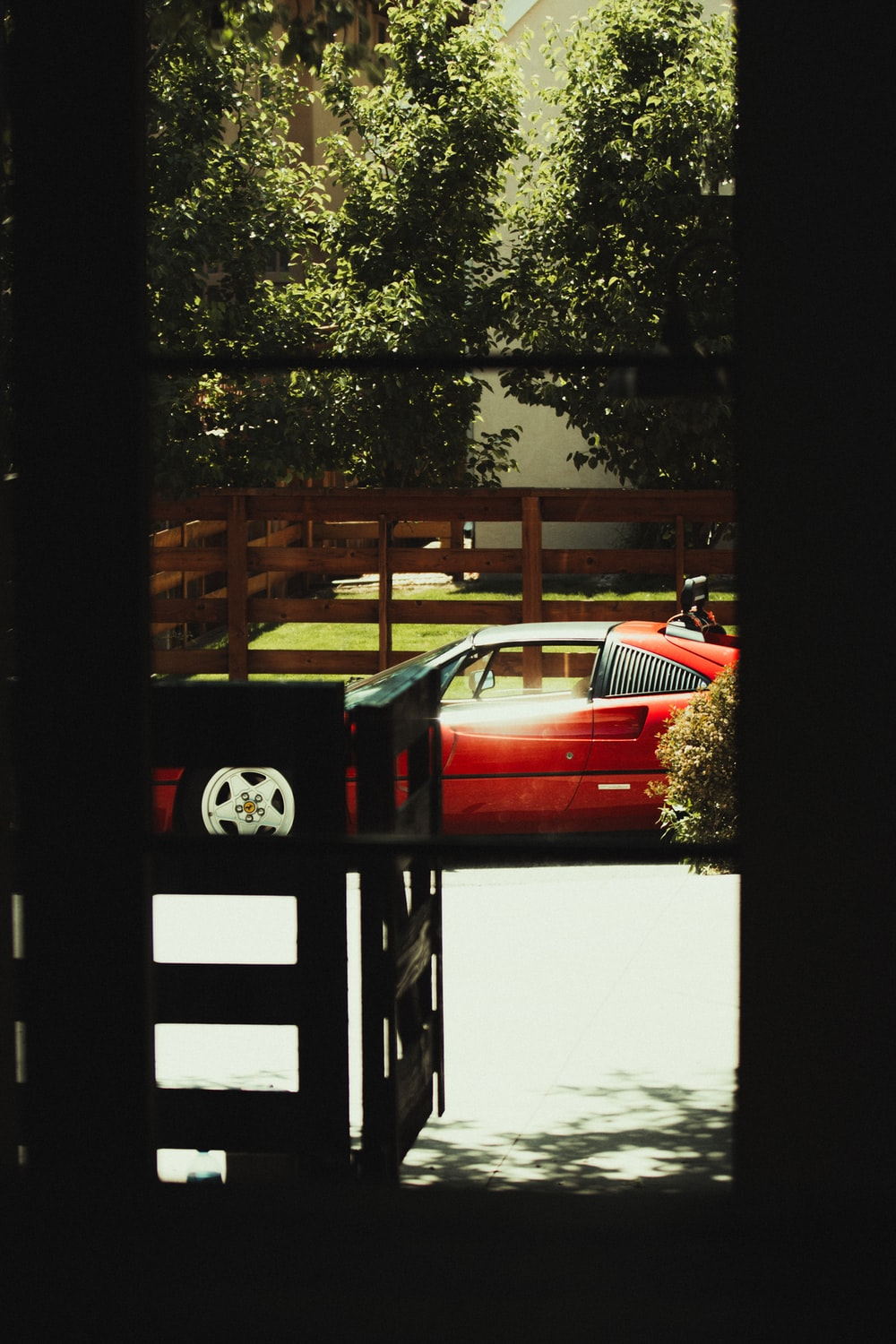 red car parked near green tree during daytime