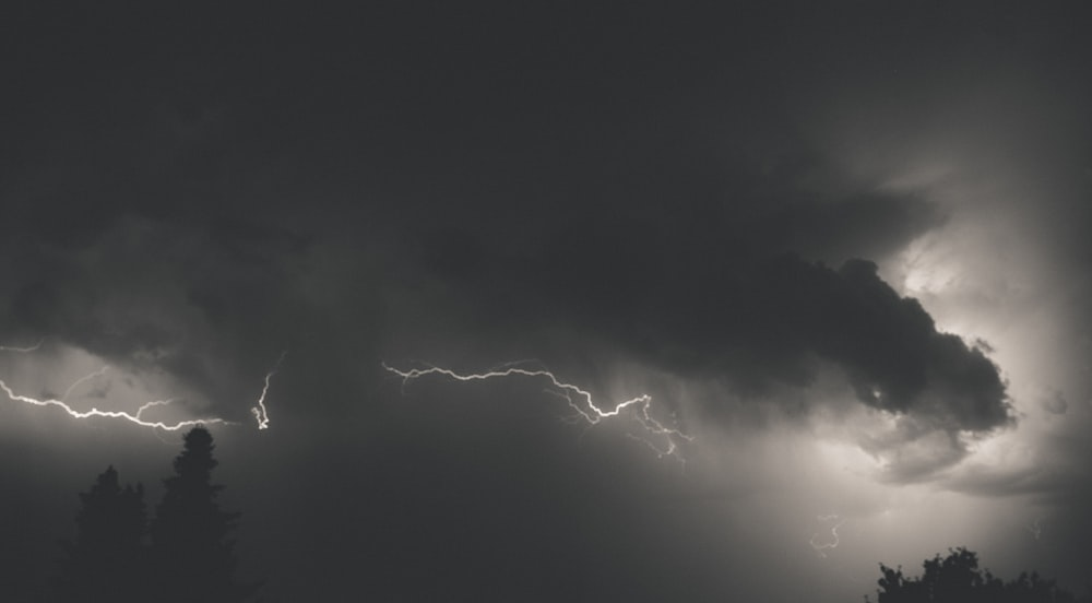 lightning strike on black sky
