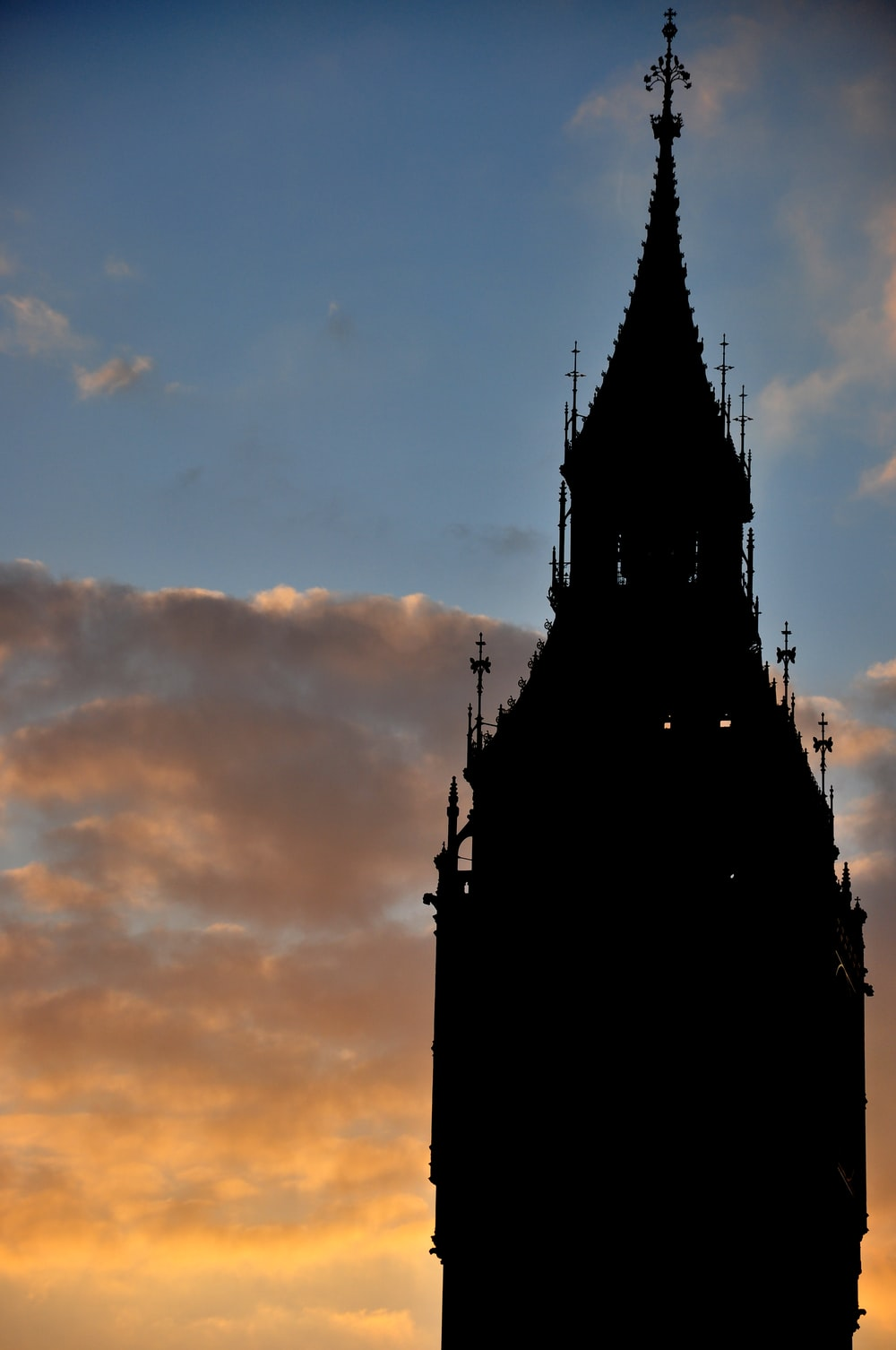 silhouette of building during sunset
