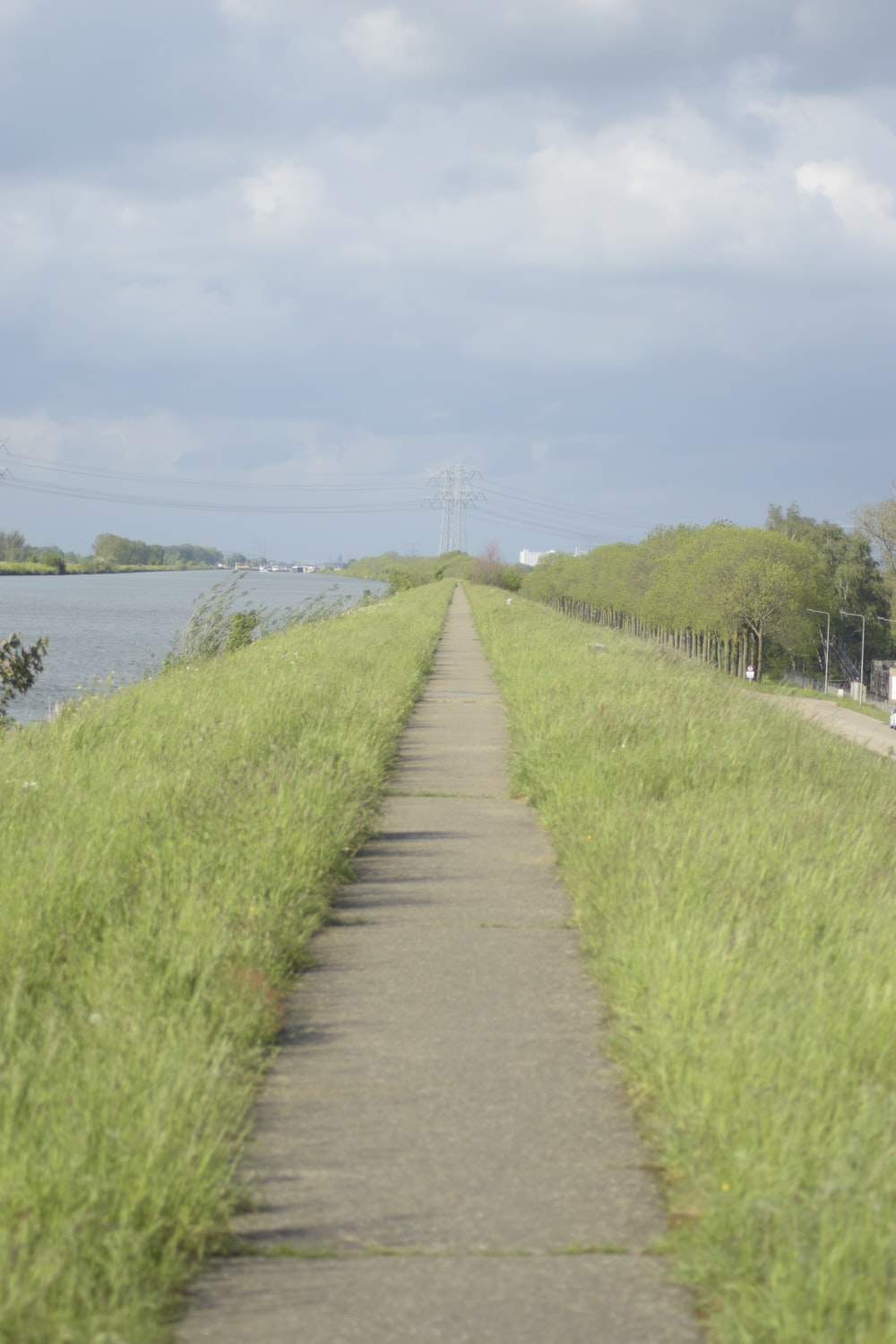 gray concrete pathway between green grass field near body of water during daytime