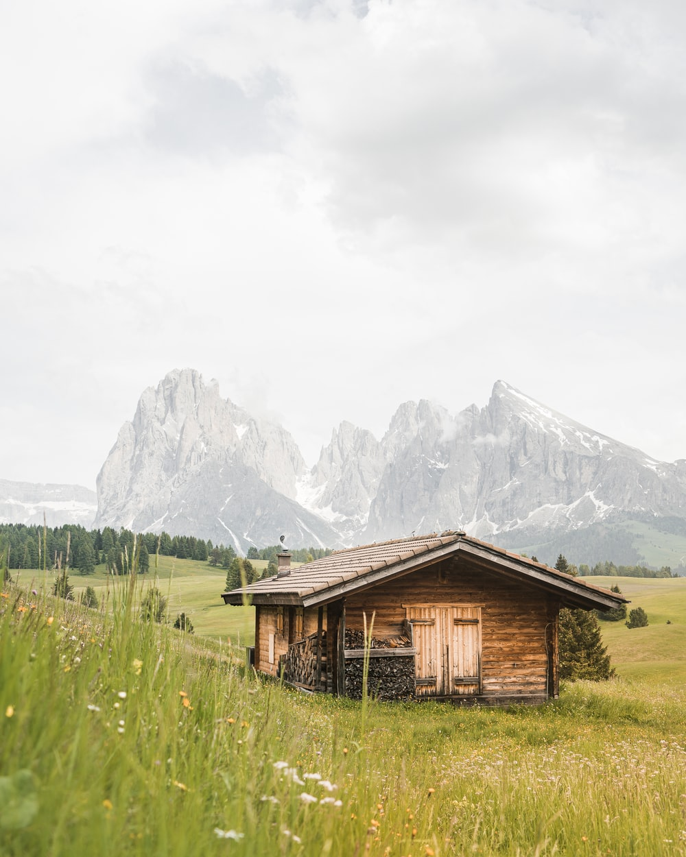 brown wooden house on green grass field near mountain during daytime