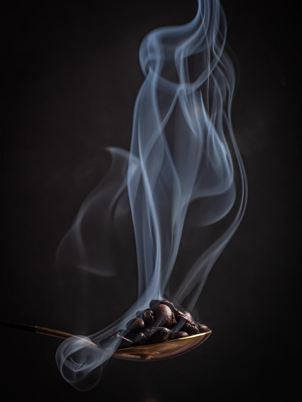 white smoke in brown basket
