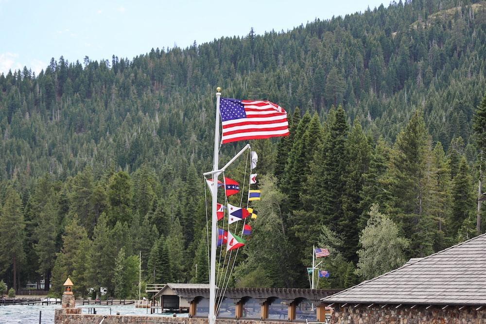 us a flag on pole