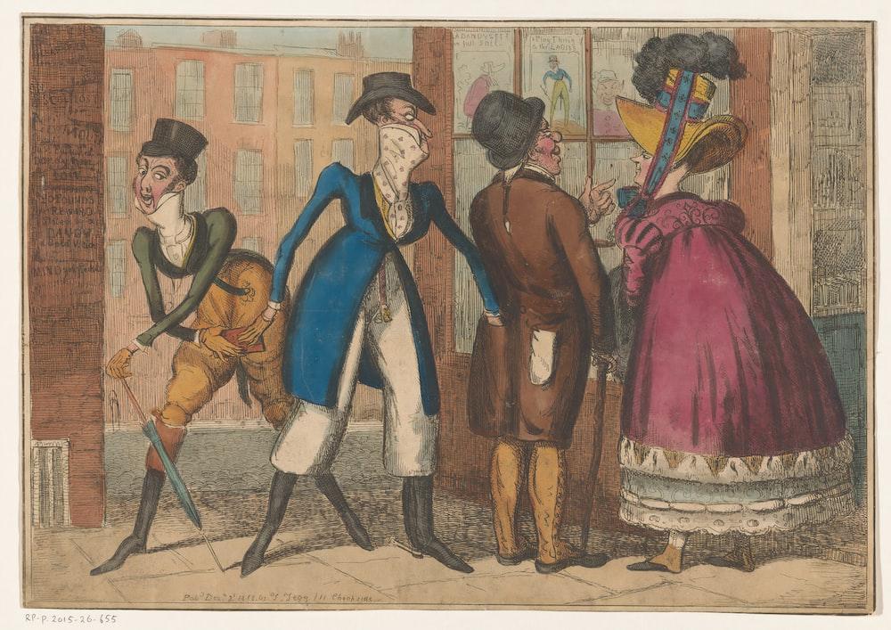 3 men and 2 women dancing painting