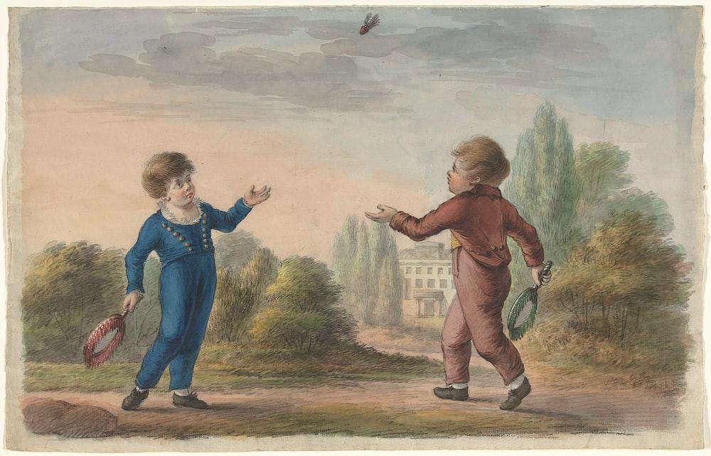 boy in blue denim jacket and brown pants standing on brown dirt road