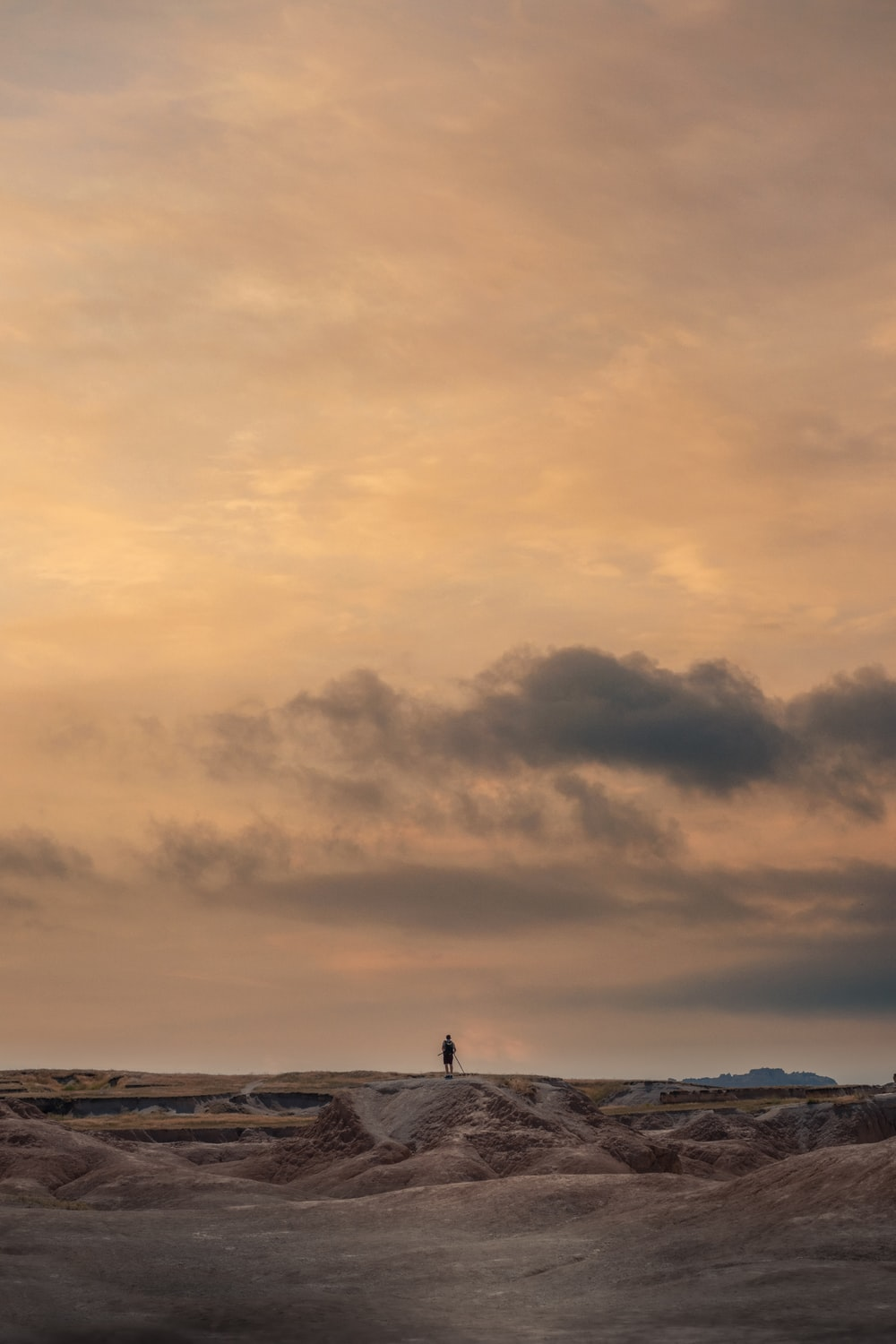 person standing on beach under cloudy sky during daytime