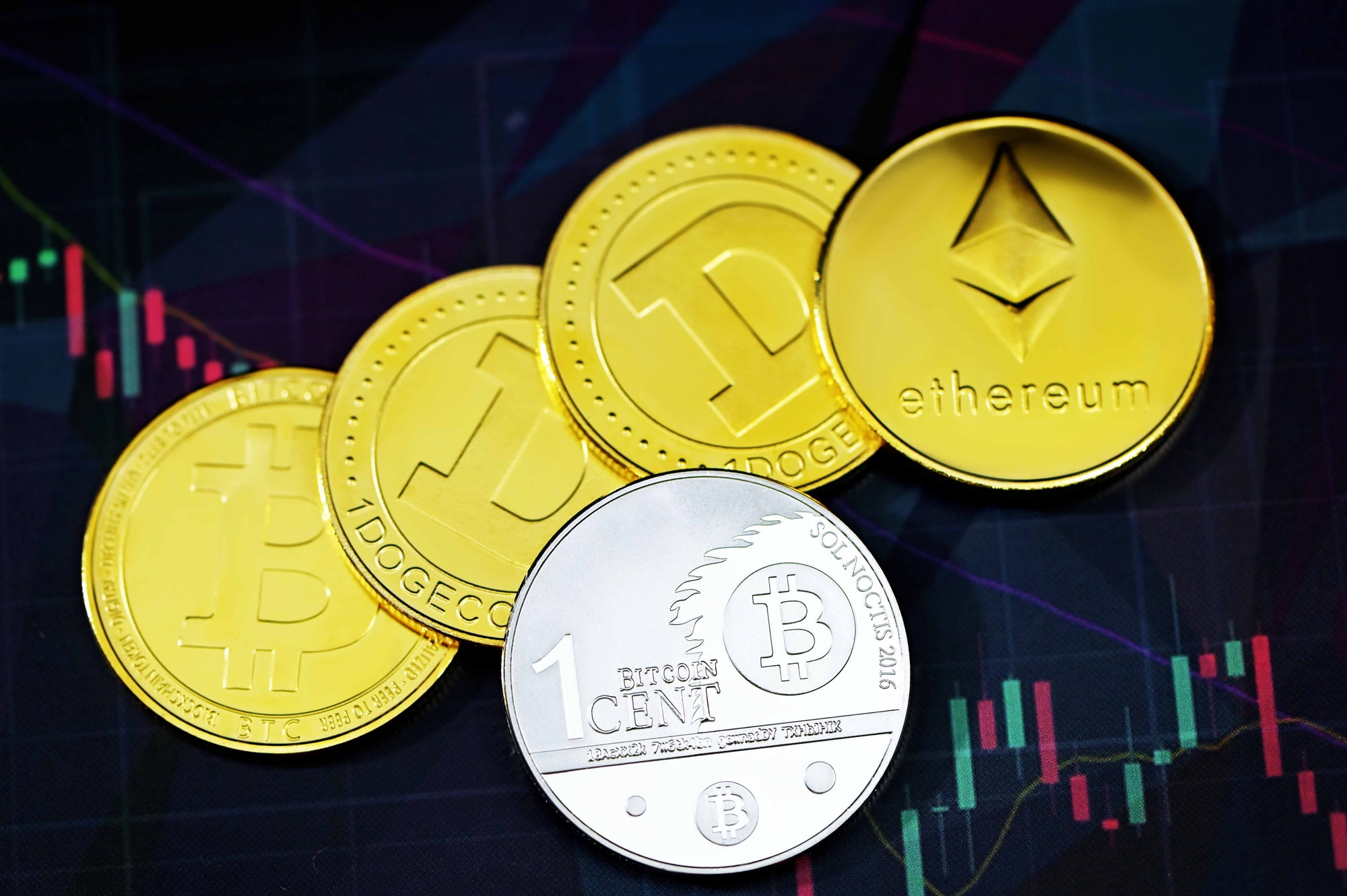 Diverse cryptocurrencies on top of trading chart
