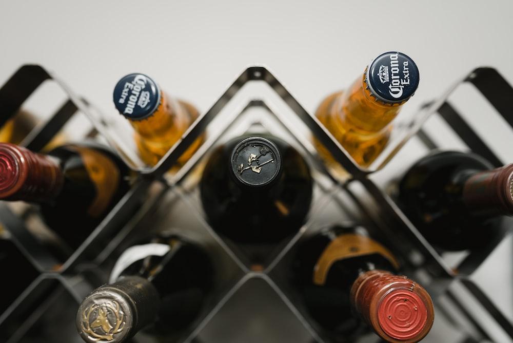 black and white labeled bottles