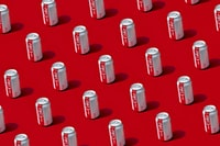 red and white plastic bottle lot